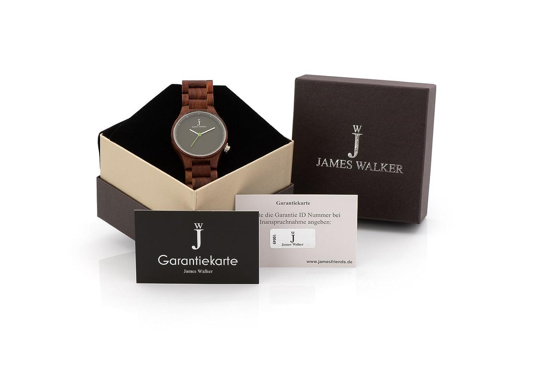 James Walker Green Edition Holzuhr geeignet fÜr Herren und Damen Zeitlos und klassische 100% Sandelholz Holz Armbanduhr