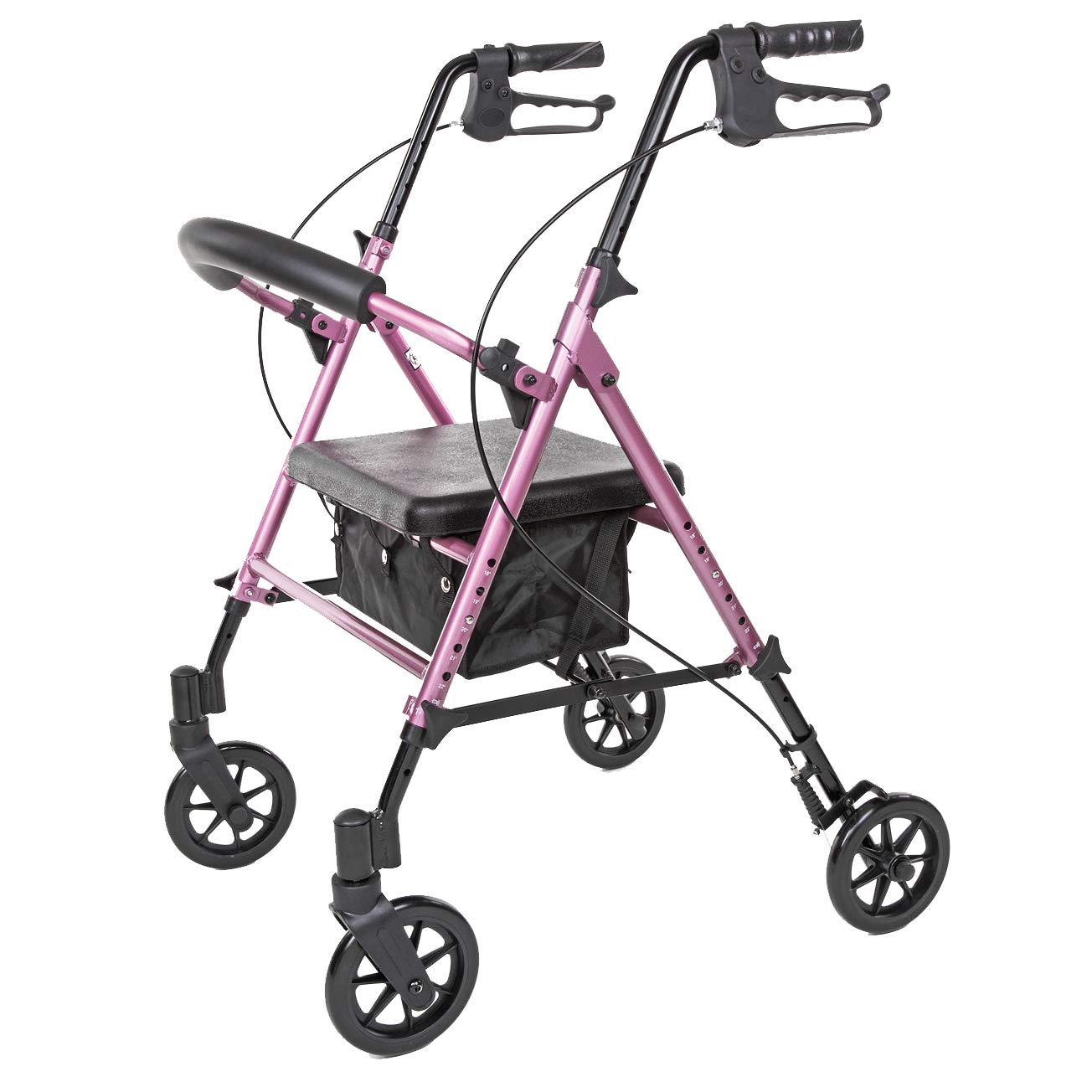Carex Step 'N Rest Aluminum Rolling Walker For Seniors, Pink - Rollator Walker With Seat -  With Back Support, 6 Inch Wheels, 250lbs Support, Lightweight by Carex