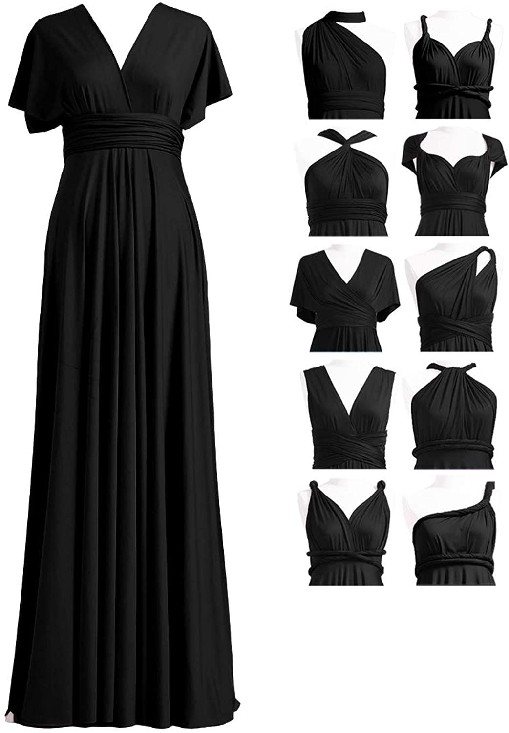 Women Bridesmaid Multi Way Wrap Long Maxi Dress Party Cocktail Evening Prom Gown