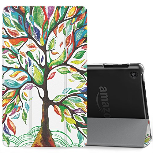 MoKo Case for All-New Amazon Fire HD 8 Tablet (7th Generation, 2017 Release Only)-Lightweight Slim Shell Stand Cover with Translucent Frosted Back for Fire HD 8, Lucky TREE (with Auto Wake/Sleep)