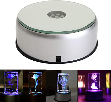 DC 4 inch Display Stand 360 Rotating Turntable 7 LED White Lights Crystal Base
