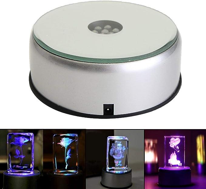 LED 3D Glas Kristall Leuchte drehbar Sockel Untersetzer Drehteller 7 Farben Deko