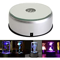 4″ 7 LED Display Base for Crystals Glass Art,Colorful Light Rotating Crystal Display Base Stand with AC Adapter (#1)