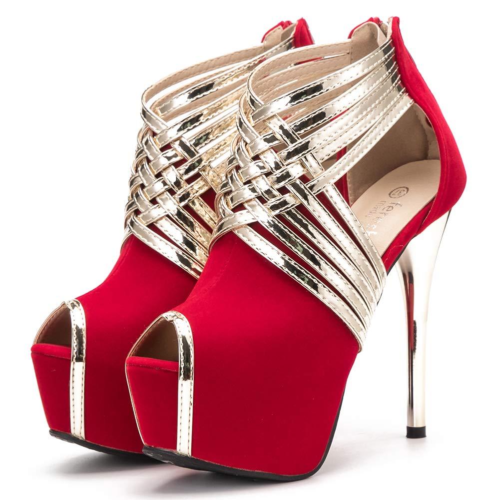0f83e2ad1cb4 fereshte Womens Sexy Peep-Toe Ankle Strappy Platform Stiletto High Heels  Sandals  Amazon.ca  Shoes   Handbags