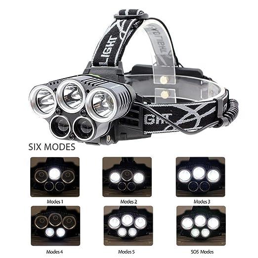 Acampar Ciclistas de MTB Caminar Cable USB Incluido y 4 bater/ías 18650 Correr YHTSPORT Linterna Frontal,Recargable 6 Modos 4000 l/úmenes 5 Faros LED T6