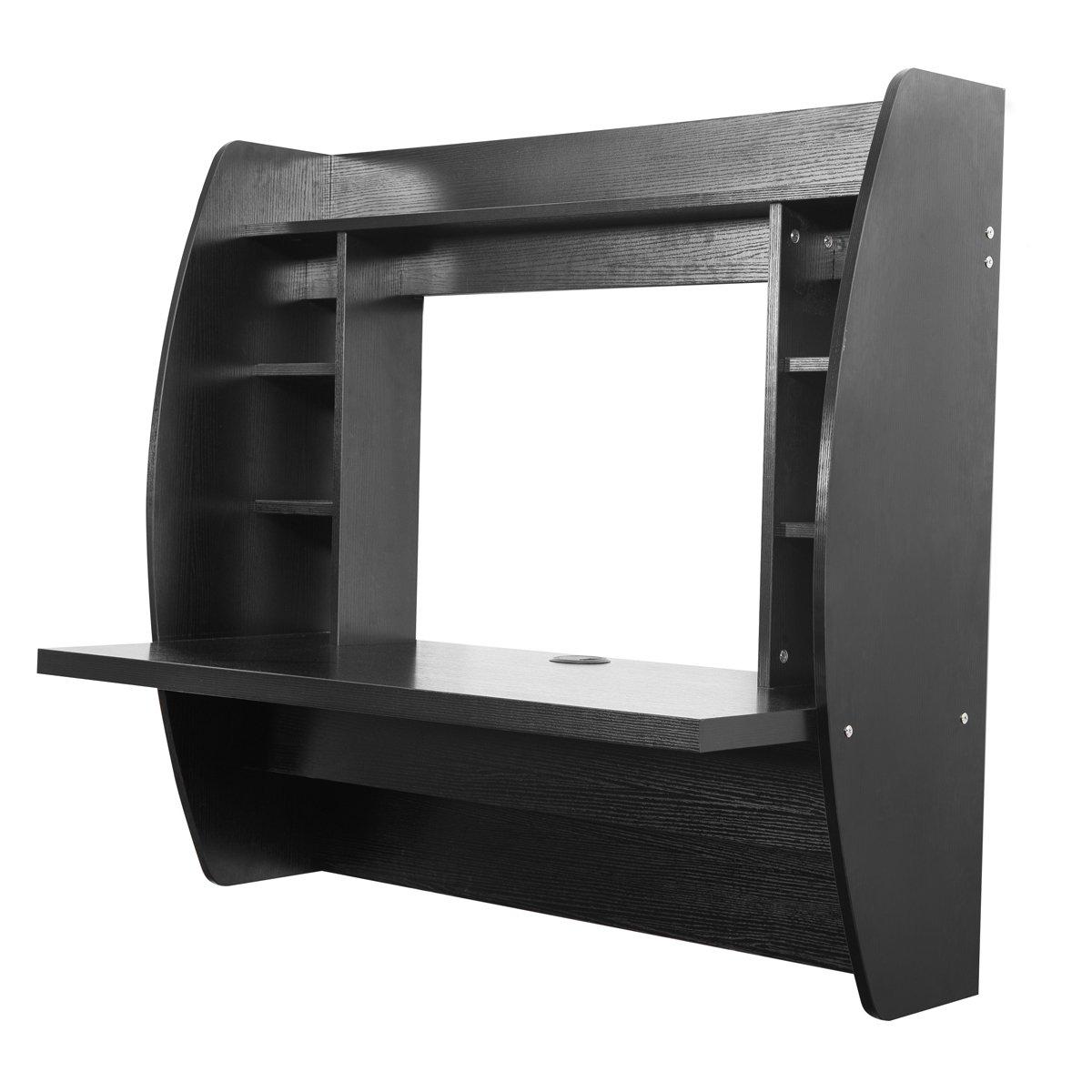 Amazon.com: U MAX Wall Mounted Floating Desk With Storage (Black): Kitchen  U0026 Dining