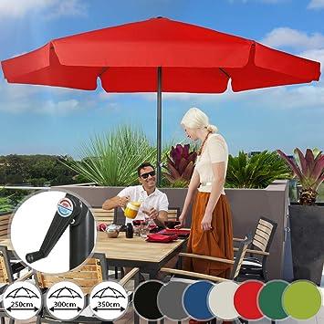 Sonnenschirm in /Ø 2,5m // /Ø 3m // /Ø 3,5m Sonnenschutz Gartenschirm Marktschirm Ampelschirm Terrassenschirm Strandschirm in Farbwahl aus Stahlrohr und Wasserabweisender Schirmbezug mit Kurbel