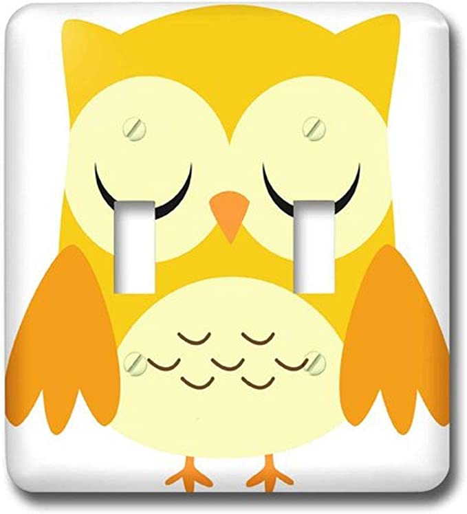3drose Lsp 58282 2 Cute Yellow Owl Double Toggle Switch Wall Plates Amazon Com