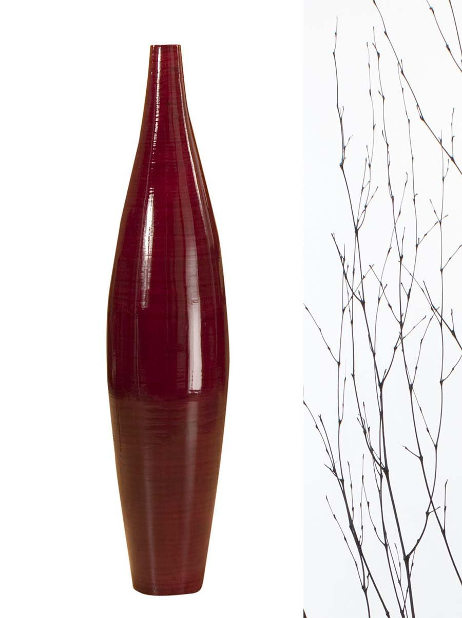 GreenFloralCrafts 30 in. Ellipse Bamboo Floor Vase- Mahogany Red vase & DIY Branches
