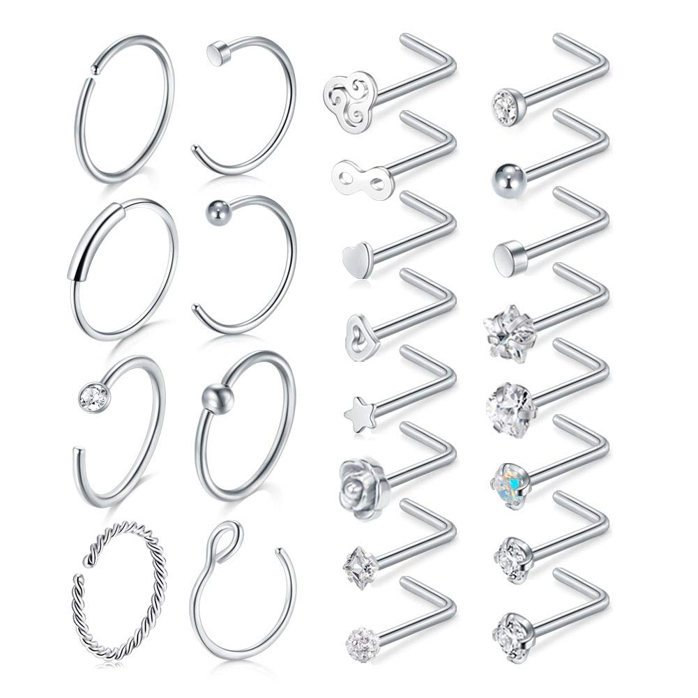 JFORYOU 24Pieces C-Shaped Nose Rings Hoop L Shape Nose Screw Studs Nose Piercing Jewelry for Women Girls by JFORYOU
