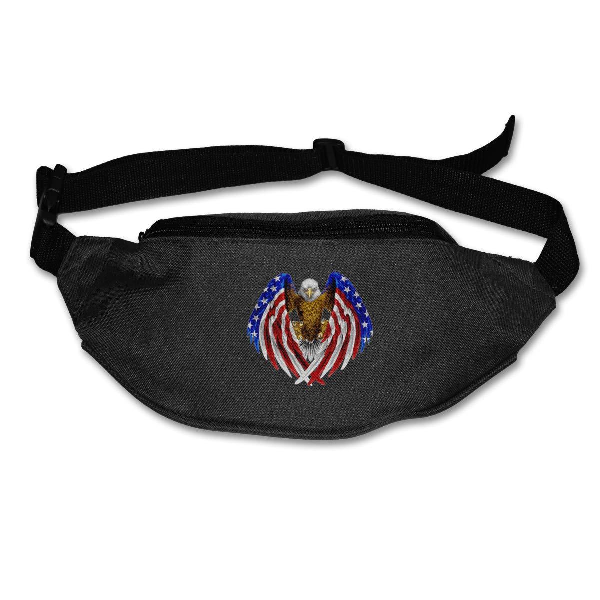 Eagle American Flag Sport Waist Bag Fanny Pack Adjustable For Hike