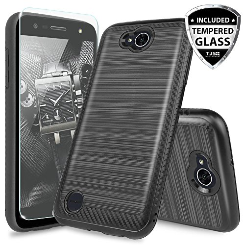 LG X Power 2 M320 Case, LG Fiesta LTE Case, LG X Charge Case, LG Fiesta 2 Case, with TJS [Tempered Glass Screen Protector] Hybrid Carbon Fiber Metallic Brush Finish - Access Lg Case Metallic Lte