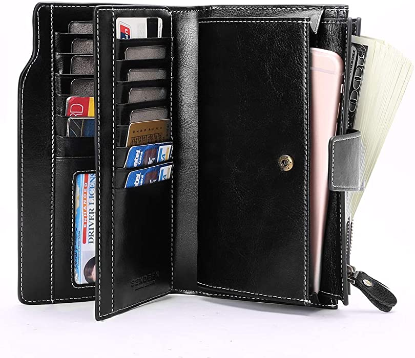 36033da3a18c Womens RFID Wallets Large Capacity Leather Long Trifold Clutch Purse ...