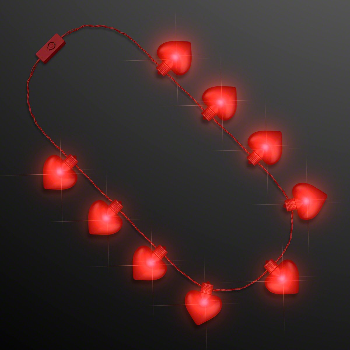 Red Flashing Led Light Up Jumbo Heart Necklace Lights Valentines Jewelry Set Of 12 Toys Games