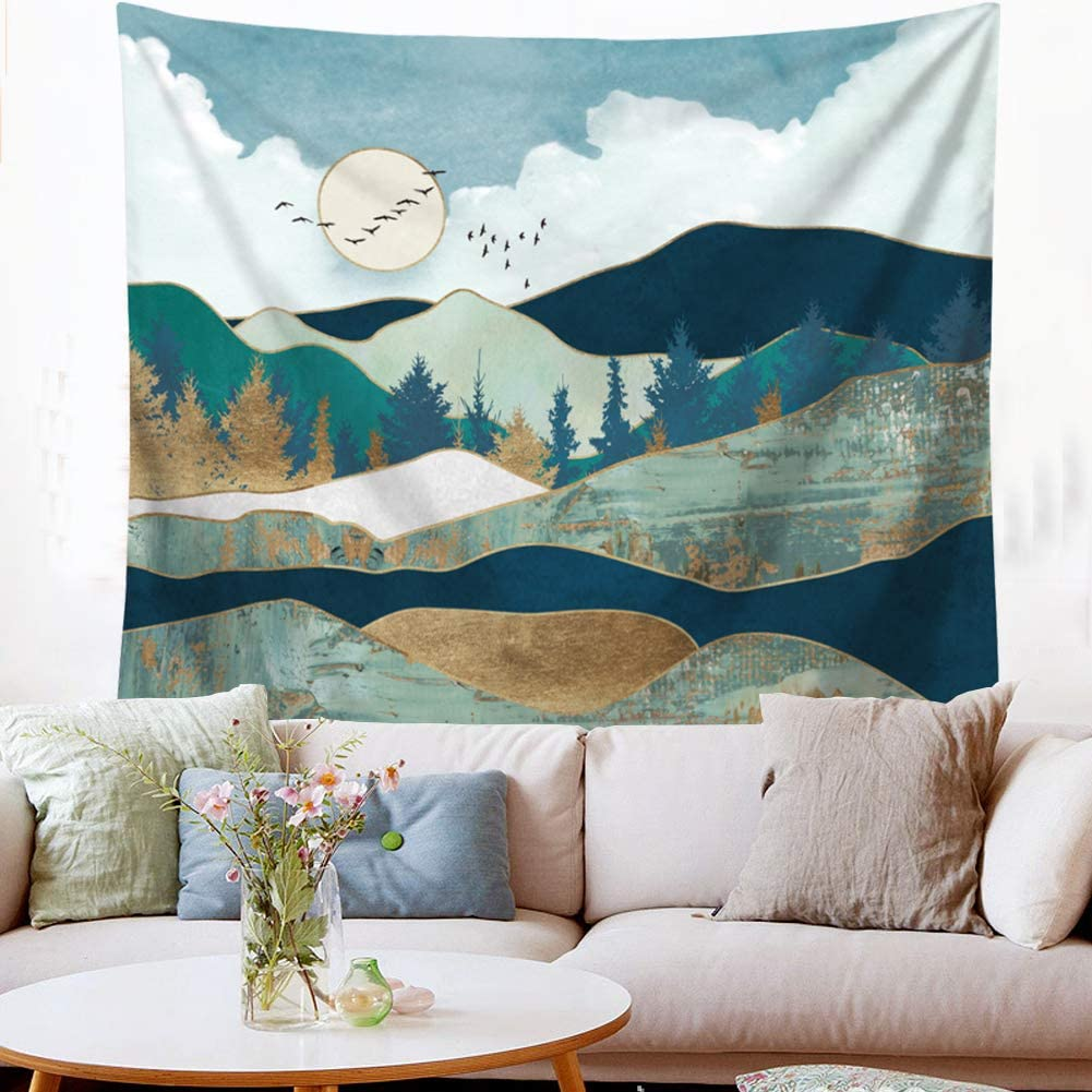 Indusleaf Mountain Tapestry Wall Hanging - Sunset Wall Tapestry for Bedroom Blue Tapestry for Girls Dorm Room Nature Landscape Wall Decor Women Tapestries