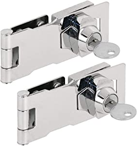 """(2 Packs) Keyed Different Hasp Locks – Twist Knob Keyed Locking Hasp for Small Doors, Cabinets and More, 4"""" x 1-5/8"""", Stainless Steel Steel, Chrome Plated Hasp Lock with Keys … (A)"""