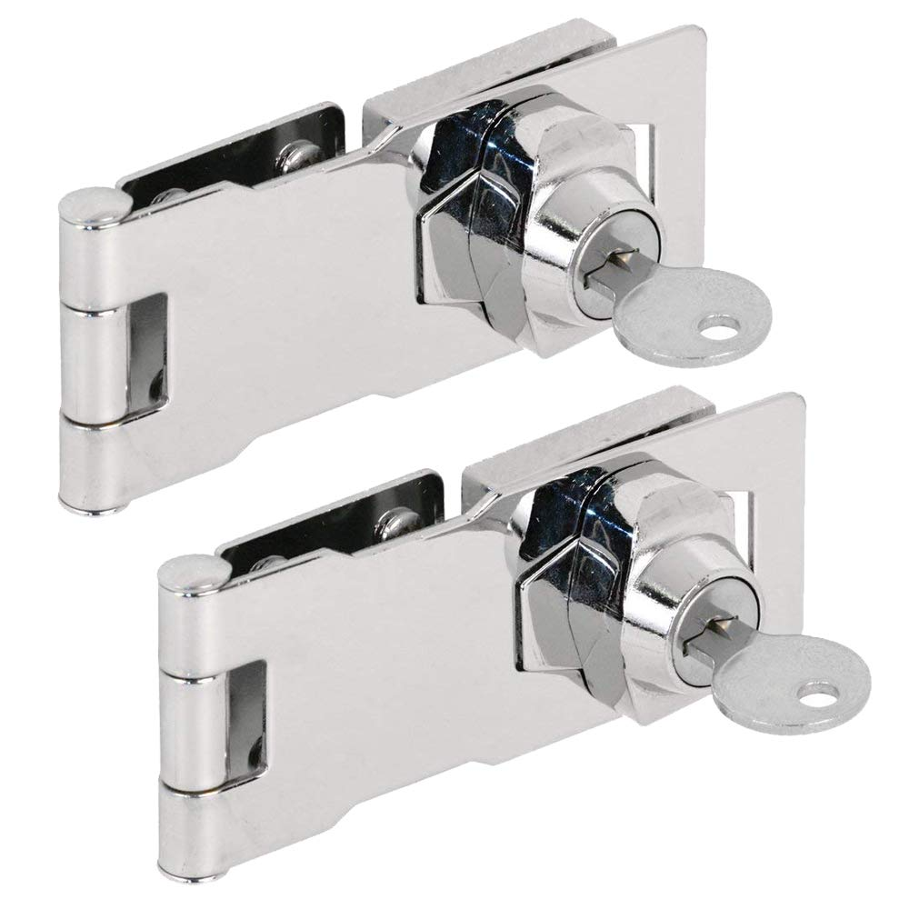 (2 Packs) Keyed Hasp Locks – Twist Knob Keyed Locking Hasp for Small Doors, Cabinets and More, 4 x 1-5/8 , Stainless Steel Steel, Chrome Plated Hasp Lock with Keys … (A) 61LX0DO7cWL