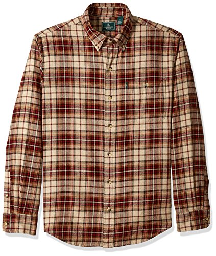 G.H. Bass & Co. Men's Long Sleeve Fireside Plaid Flannel Shirt, Oyster Grey Heather, Small