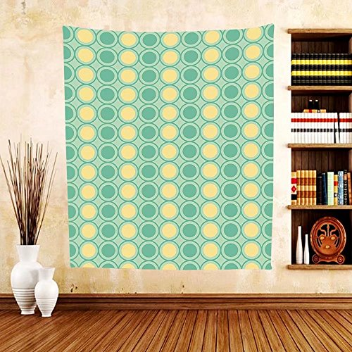 Gzhihine Custom tapestry Retro Tapestry Big Circles and Dots Pattern in Green Yellow Colors Geometrical for Bedroom Living Room Dorm Mint Green Seafoam Light - Beach In Miami Outlets South