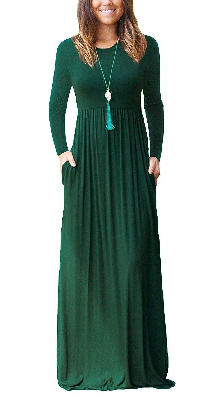 01 Dark Green Long Sleeves HIYIYEZI Women's Short Sleeve Loose Plain Maxi Dresses Casual Long Dresses with Pockets