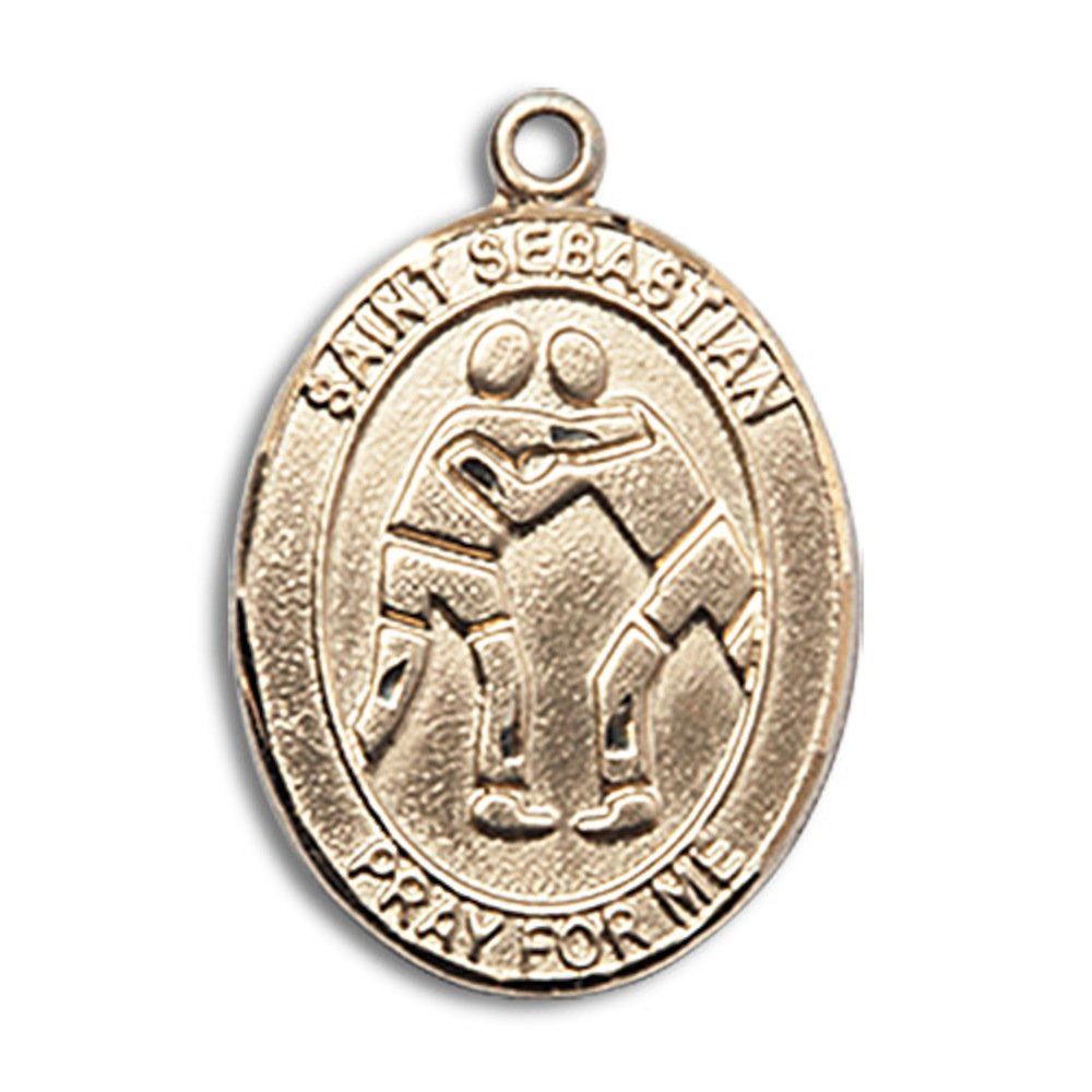 Custom Engraved 14kt Yellow Gold St. Sebastian/Wrestling Medal 3/4 x 1/2 inches by Bonyak Jewelry
