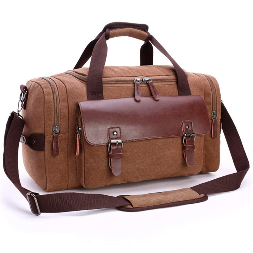 Retro Stitching Leather Outdoor Large Capacity Travel Business Trip Large Capacity Pure Color Leisure Fitness Bag Gym Sports Luggage Bag Women Travel Duffel Canvas Travel Bag Men