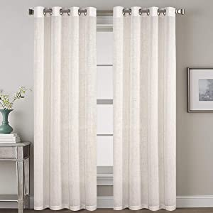 2 Pack Ultra Luxurious High Woven Linen Elegant Curtains Grommet Curtain Panels Light Reducing Privacy Panels Drapes, Nickel Grommet, Extra Long 52x108-Inch, Natural