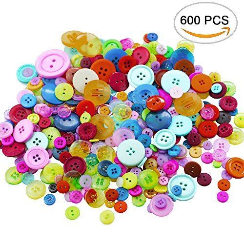 Bright Buttons (Amersumer 600 Pcs Assorted Sizes Resin Buttons ,Round Craft Buttons for Sewing DIY Crafts,Children's Manual Button Painting)