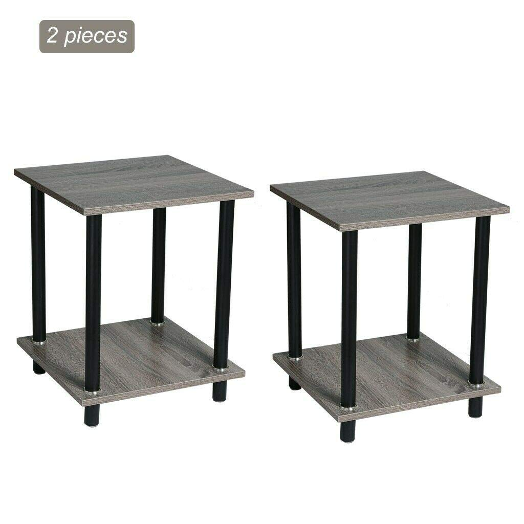 Amazon.com: Top_Quality555 Set of 2 Grey Nightstand Bedside ...