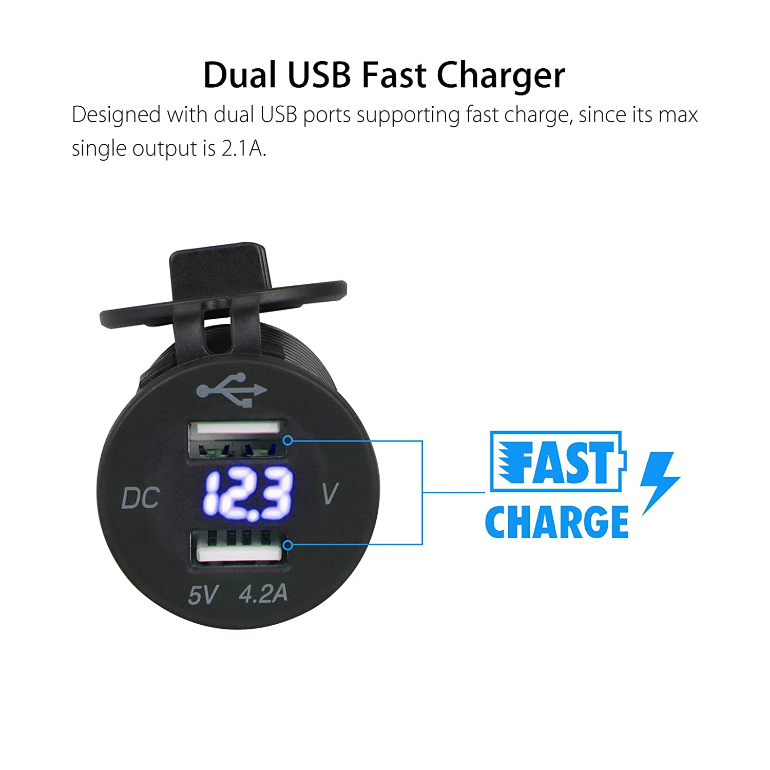 Linkstyle 12V 4.2A Dual USB Charger Socket Power Outlet with LED Digital Display Voltmeter Waterproof Dual Charging Ports for 12V//24V Car RV Boat Marine Motorcycle Mobile Green
