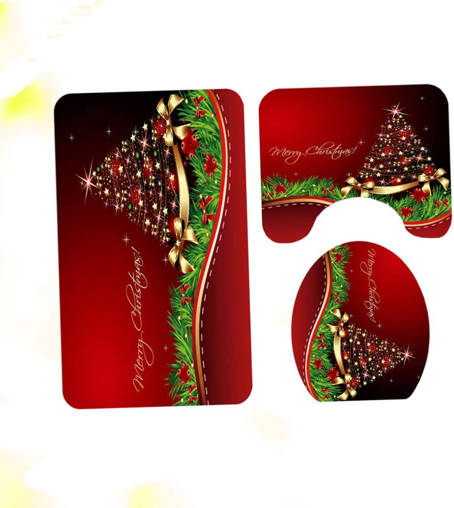 TOPBATHY 4-teiliges Badezimmerteppich-Set mit weihnachtlichem Lotusbl/üten-Duschvorhang mit Rutschfester Badematte und WC-Deckelbezug WC-Vorleger Set Blume