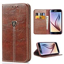 Galaxy S6 Phone Case, iDoer Slim Wallet Magnetic Leather Flip Protective Case Cover for Samsung Galaxy S6 Coffee