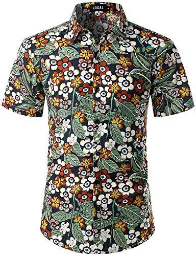 JOGAL Men's Flower Casual Button Down Short Sleeve Hawaiian Shirt XX-Large A334 NavyCartoon ()