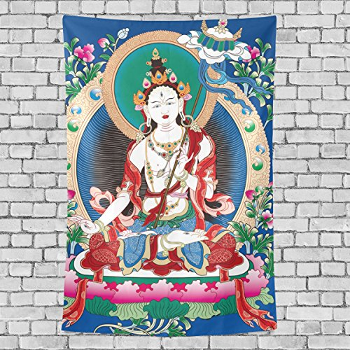 Tibetan Buddhist Thangka Art Decoration, Bedroom Living Kids Girls Boys Room Dorm Accessories Wall Hanging Tapestry, 60X40 Inches (Both Tales Sides Brain)
