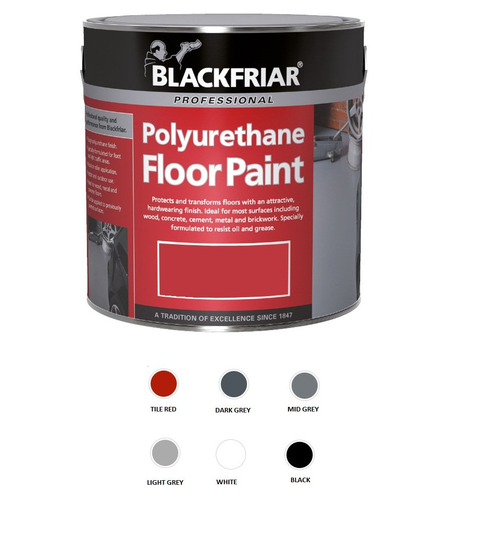Blackfriar Polyurethane Floor Paint for Indoor Outdoor Use 5L Black