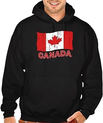 Interstate Apparel Mens Grunge Canada Flag Black Pullover Hoodie Sweater Black
