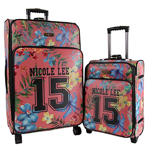Nicole Lee Cleo 2 Piece Expandable Luggage Set with Laptop Compartment 20...