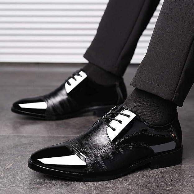 Zapatos de Cordones,Logobeing Zapatos de Hombre Oxford Modernos con Cordones y Forrados En Piel Zapatos Boda Vestir Zapatos 38-47
