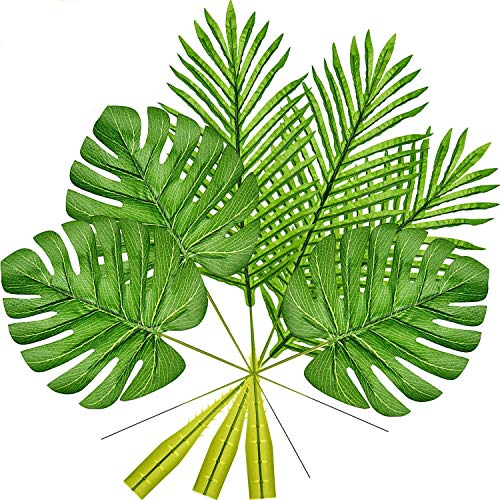 U-House Tropical Palm Leaves 20 Pcs Artificial Palm Leaves Faux Monstera Leaves Tropical Plant Imitation Safari Leaves for Beach Birthday Theme BBQ Party Home Decorations -
