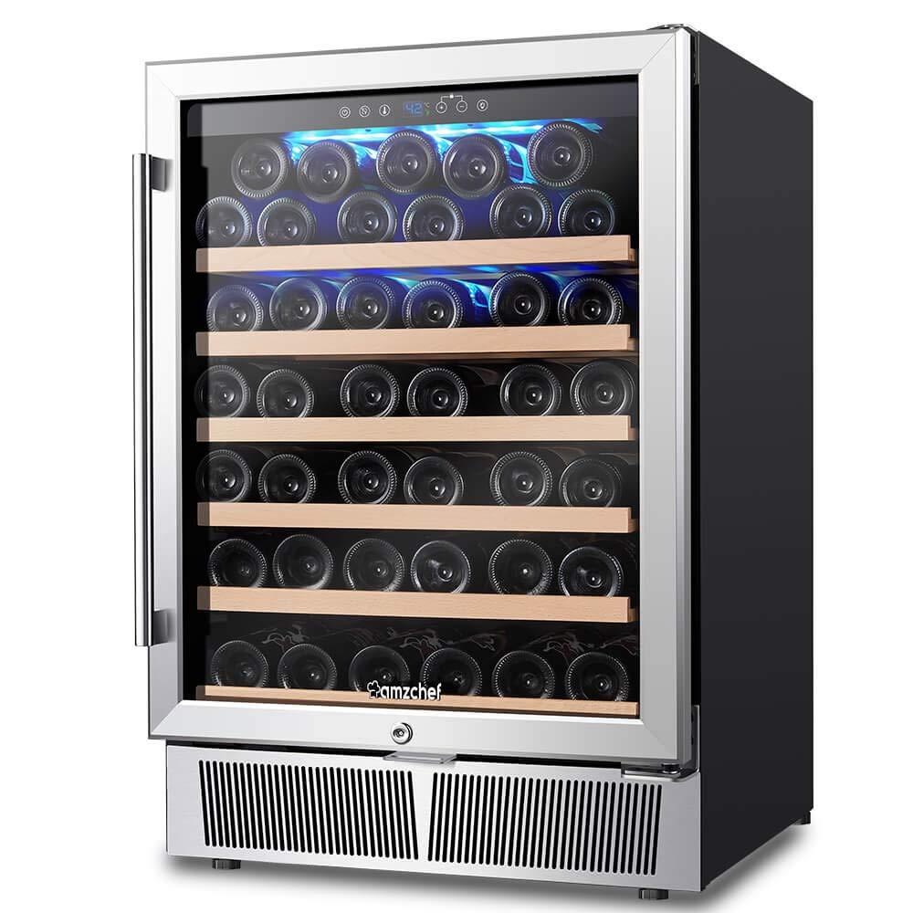 Wine Cooler, Wine Refrigerator, Built-in or Freestanding, AMZCHEF 52 Bottle Wine Refrigerator, Quiet, Constant Temperature, Energy Efficient