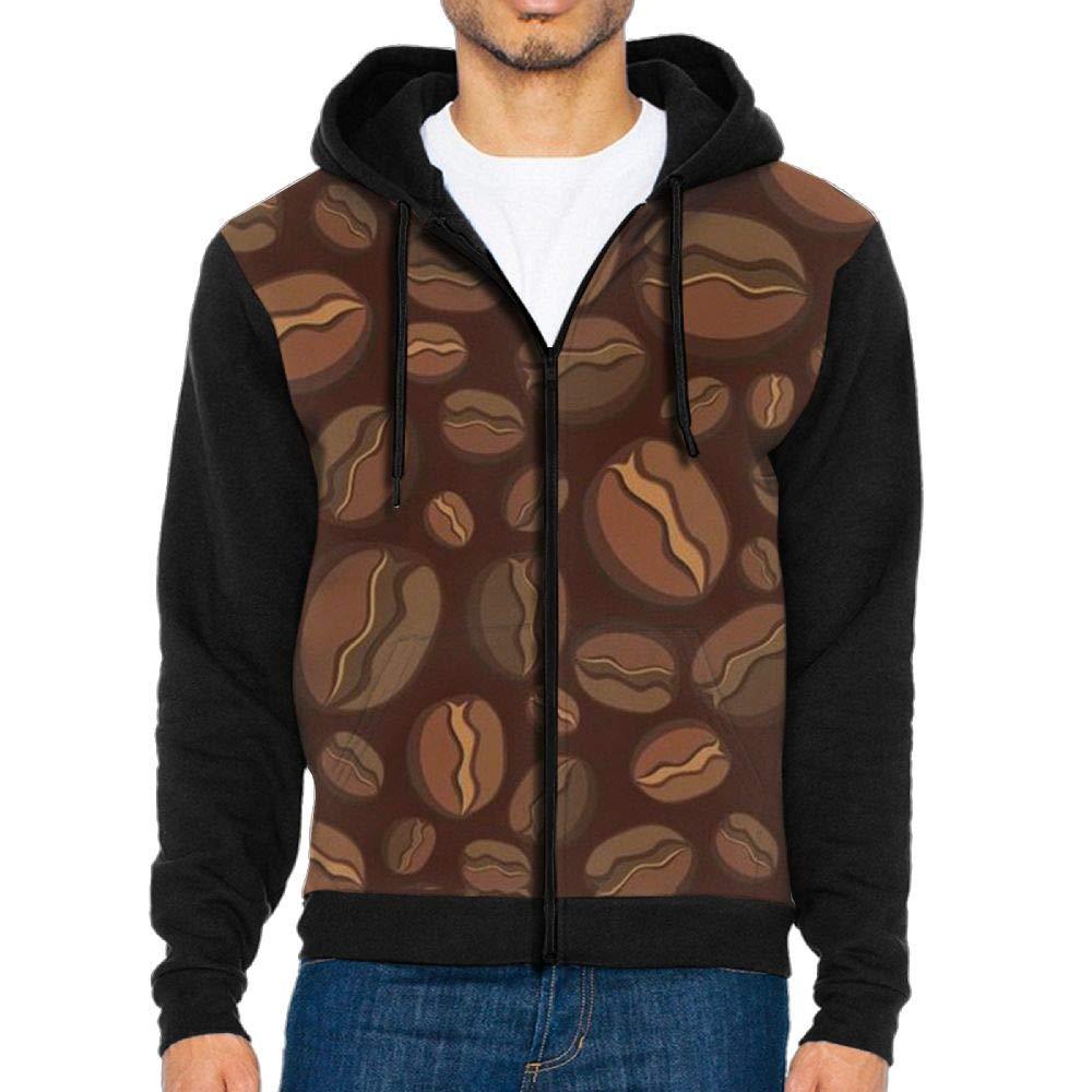 GOQWM Coffee Beans Mens Casual Striped Drawstring Hooded and Zipper Closure Hoodie
