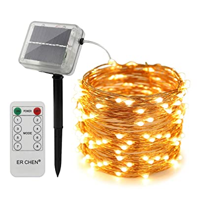 ErChen Remote Control Solar Powered Led String Lights, 66FT 200 LEDs Copper Wire Waterproof 8 Modes Decorative Fairy Lights for Outdoor Christmas Garden Patio Yard (Warm White) : Garden & Outdoor