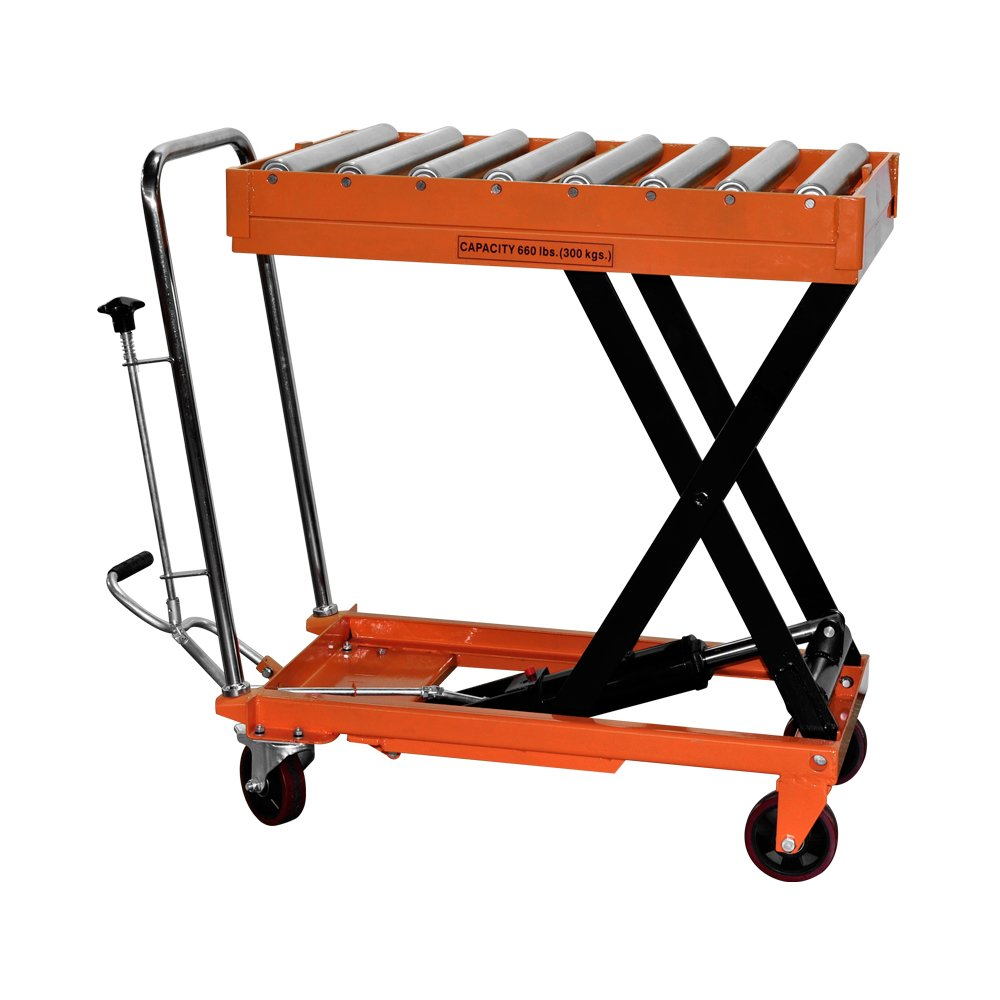 Bolton Tools New Hydraulic Foot Operated Scissor Roller Top Lift Table Cart Hand Truck - 660 LB of Capacity - 37.8'' Max Height - Model TF30R