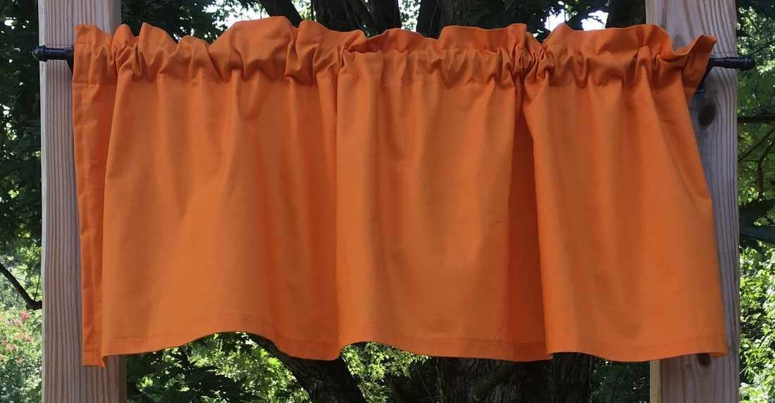 Solid Orange Halloween Autumn Handcrafted 41x15 Curtain Valance