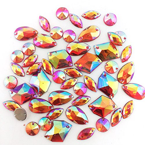 PEPPERLONELY 50PC Orange AB Color Sew On Mixed Shape & Size Flat Back Faceted Acrylic Crystals Rhinstones, 7~21mm