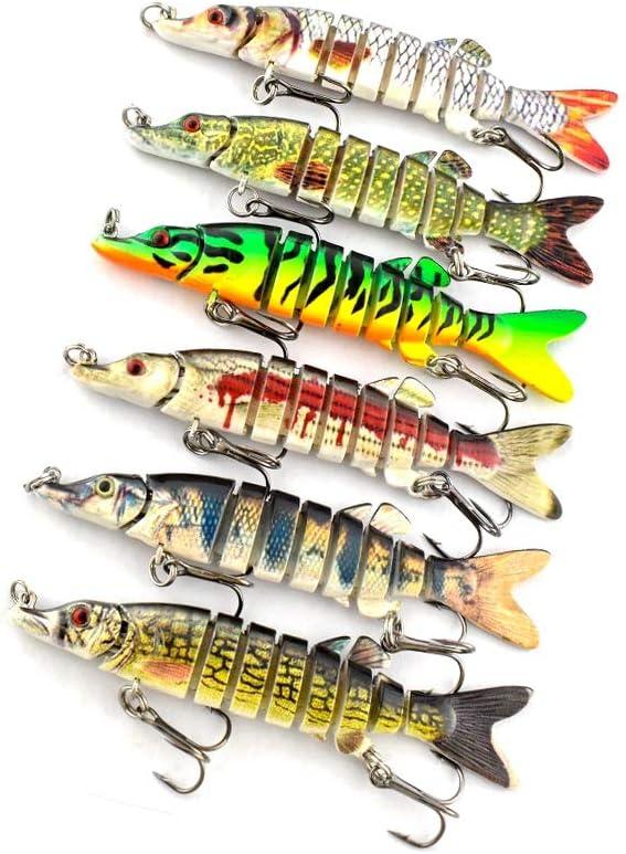 "5/"" Multi-jointed 9-segement Pike Muskie Plastic Fishing Lure Hard Bait Popul  ON"