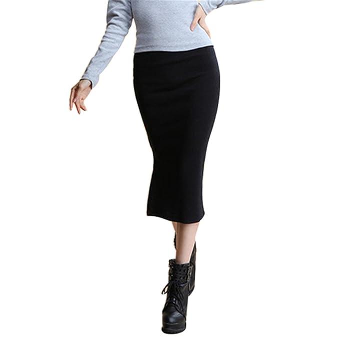 6712cdcf79d3 Doris Batchelor Elegant Skirts Womens Pencil Skirt High Elastic Package Hip  Mid-Calf Solid Skirt