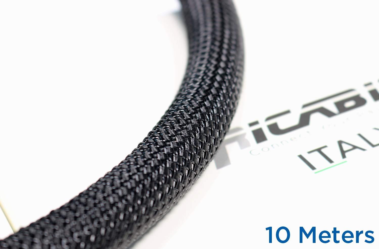 Ricable Custom BB20//10 Noir//Noir 10 m Gaine de Protection tress/ée pour c/âble 16-22 mm