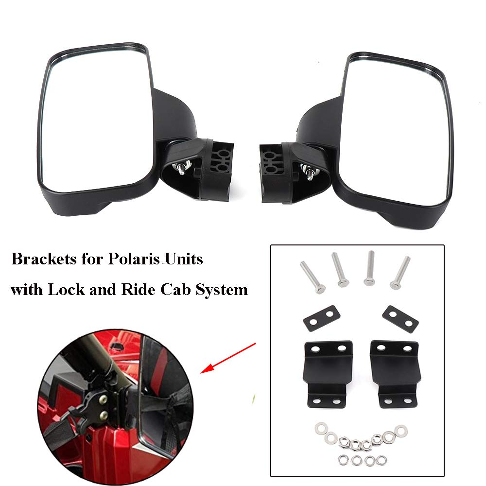 Ranger 570 900 Side View Mirrors for UTV with Lock and Ride Cab System Heavy Duty Large Size KEMIMOTO Rear View Mirrors also fit 2015 2017 2018 2019 Polaris RZR 900 1000 Can am Kawasaki Mule