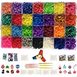 Loomy Bands 10000-Piece Rainbow Colored Loom Bands - 28 Colors with Kids Fidget Spinner, 500 Clips, 50 Beads, 15 Charms, 4 Hooks and Plastic Loom Band Storage Container